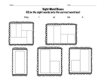 High Frequency Sight Words- Word Boxes