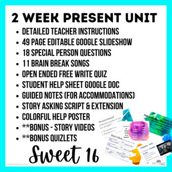 High Frequency Verbs Unit (Sweet 16 present) - Novice Spanish