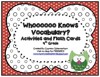High-Frequency, State-Test Vocabulary Flash Cards/Activities/Stations-4th Grade