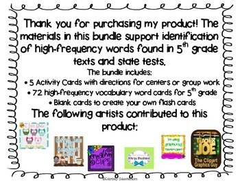 High-Frequency, State-Test Vocabulary Flash Cards/Activities/Stations-5th Grade