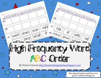 High Frequency Word ABC Order