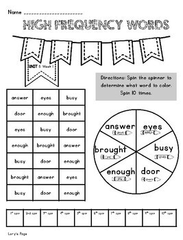 High Frequency Word Activities 1st Grade WONDERS  Unit 6