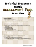 High Frequency Word Assessment_Fry's Words 1-200