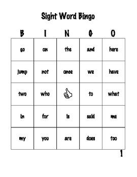 High Frequency Word Bingo