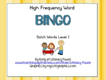 High Frequency Word Bingo Level 1