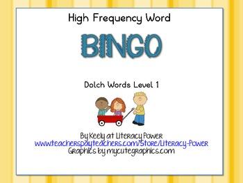 High Frequency Word Bingo Level 1
