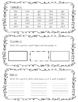 High Frequency Word Book - Go