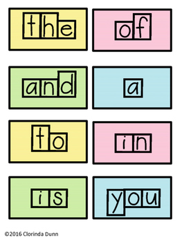 High Frequency Word Boxes
