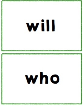 High Frequency Word Card