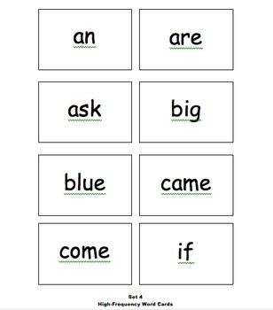 High Frequency Word Card Sets