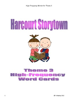 High Frequency Word Cards Storytown Theme 3 (Black and White)