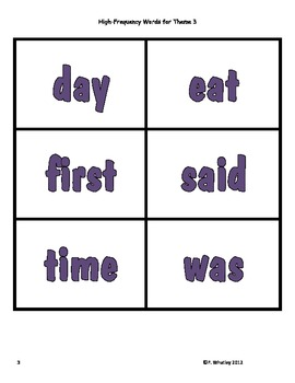 High Frequency Word Cards Storytown Theme 3 (Color)
