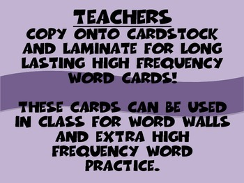 High Frequency Word Cards- Supplement 2013 Reading Street Grade 1 Unit 2