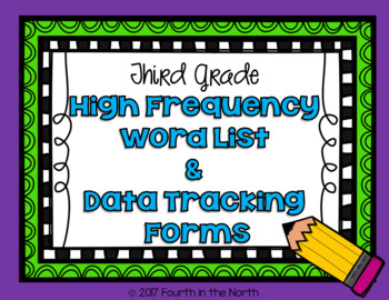 High Frequency Word Cards and Data Tracking Forms- Third Grade