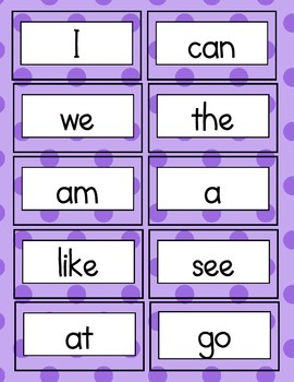 High Frequency Word Cards for Activities
