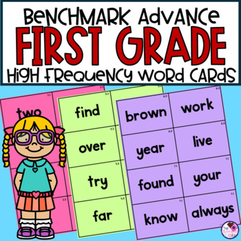 High Frequency Word Cards for Benchmark Advance First Grade*editable cards too*