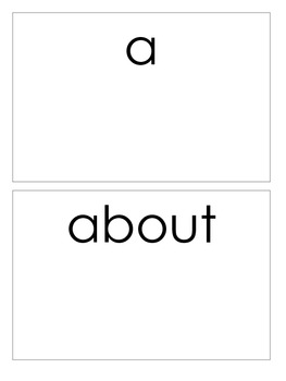 High Frequency Word Cards for Literacy Centers