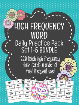 High Frequency Word / Sight Word Daily Practice Pack {SET 1-5 BUNDLE}