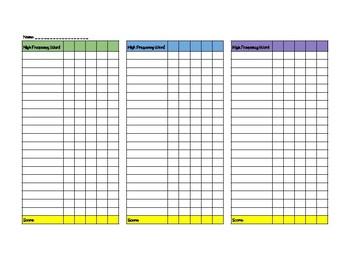 High Frequency Word Data Sheet