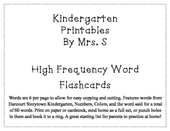 High Frequency Word Flashcards