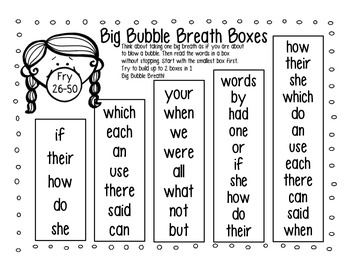 High Frequency Word Fluency Intervention: Set 1 Fry Words 1-100 Breath Boxes