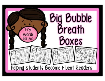 High Frequency Word Fluency Intervention: Set 2 Fry Words 101-200 Breath Boxes