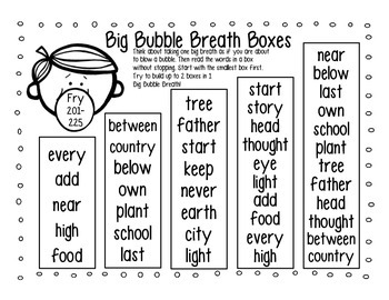 High Frequency Word Fluency Intervention: Set 3 Fry Words 201-300 Breath Boxes