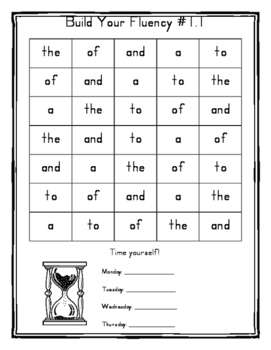 High Frequency Word Fluency Practice