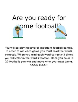 High Frequency Word Football