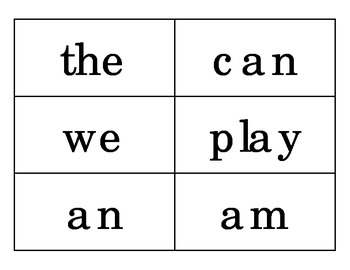 High Frequency Word Game