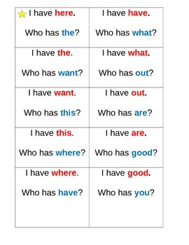 High Frequency Word Game- I have Who has