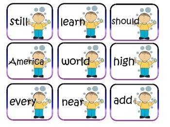 High Frequency Word Game Second Grade