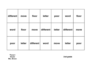 High Frequency Word Grid for Mrs. Brown Went to Town