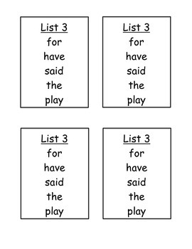 High Frequency Word List Cards
