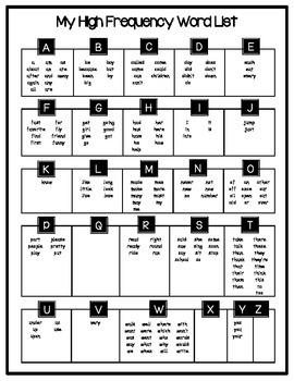 High Frequency Word List - Personal Word Wall 171 K-1 Words *FREEBIE*