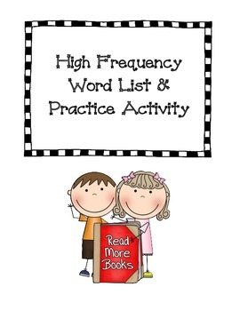 High Frequency Word List & Practice Activity
