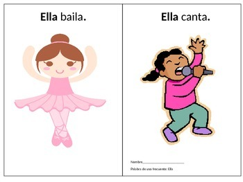 High Frequency Word Little Reader in Spanish Word: Ella