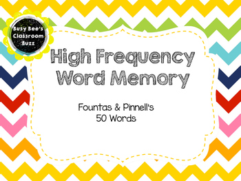 Sight Word Memory Game- F&P50 High Frequency Words