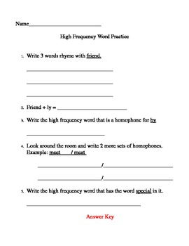 High Frequency Word Practice (Based on Cunningham's Month-