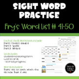 High Frequency Word Practice:  Fry Words 41-50 (Find It, S