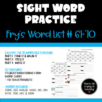 High Frequency Word Practice:  Fry Words 61-70 (Find It, Spell It, Write It)