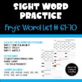High Frequency Word Practice:  Fry Words 61-70 (Find It, S