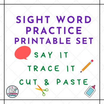 High Frequency Word Practice: Say-Trace-Cut & Paste