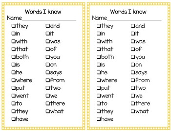 High Frequency Word Practice Set 1