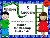High Frequency Word Practice Snakes & Ladders- Reach for Reading 1st Grade U1-4