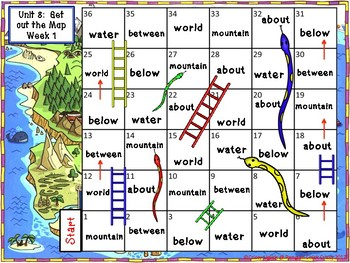 High Frequency Word Practice Snakes & Ladders- Reach for Reading 1st Grade U5-8