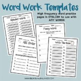 High Frequency Word Practice Templates ENGLISH