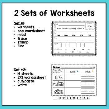 Sight Words Kindergarten Worksheets