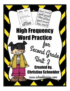High Frequency Word Practice for Second Grade Unit 3