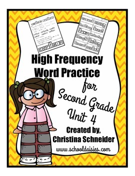 High Frequency Word Practice for Second Grade Unit 4